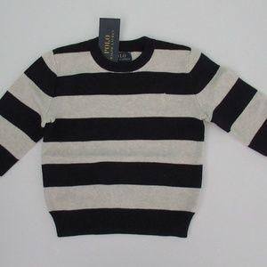 Ralph Lauren Boys Navy Striped Pima Cotton Sweater